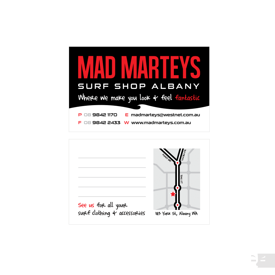 BUSINESS CARD DESIGN  Mad Marteys Surf Shop - Albany WA