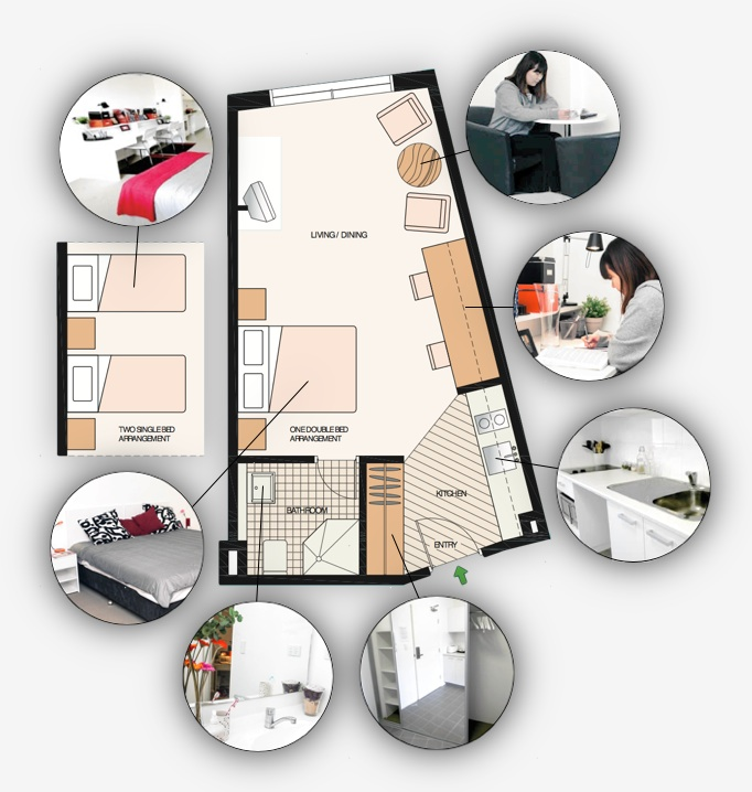 Shared or private studio accommodation for students layout