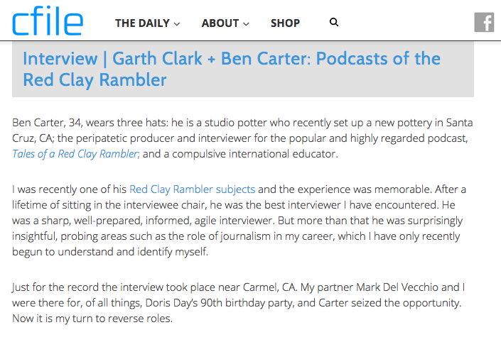 Click here to read my full interview with CFile editor Garth Clark.