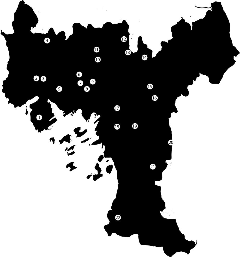 Illustrasjon: Tin Phan, Phittawat Chittapraneerat  1 Bygdøy Alarmplass, Strømsborgvn 12  2 Smestad Alarmplass, Ullernchausseen  3 Bjørnebo Alarmplass, Hoffsvn 64 4 Svenstua, Frognersetervn 63  5 Frognerparken Alarmplass 6 Fjellet Alarmplass, Kirkevn/Sognsvn  7 Stensparken Alarmplass, Pilestredet 86 8 St. Hanshaugen Alarmplass, Ullevålsveien 28  9 Diakonissehuset Alarmplass, Colletts g 10 Bakkehaugen Alarmplass, Godals vel  11 Havnejordet Alarmplass 12 Myrer Alarmplass, Myrerskgvn 10B  13 Grefsenkollen Alarmplass, Grefsenkollvn 15 14 Arvoll, Selvbyggervn 1  15 Skryta Alarmplass, Brobekkvn 101 16 Smalvoll Alarmplass, Smalvollvn  17 Kampen park Alarmplass, Økernvn 18 Brannfjellet Alarmplass, Brannfjellvn  19 Svartdaisveien Alarmplass 20 Østmarksetra kommandoplass, Sarabråtvn  21 Langerud Alarmplass, Enebakkvn 313 22 Ljanskollen, Mosseveien