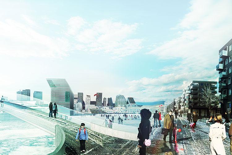 Framtidsbilde av Sørengautstikkern, med det nye Munch-museet og Barcode i bakgrunnen. Illustrasjon: White/Rodeo/Grønning.