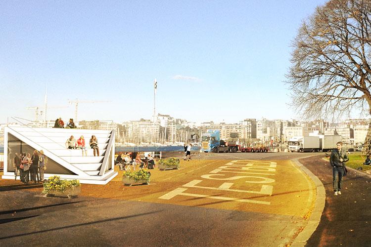 Testbeds vil brukes for å teste ut ideer og aktiviteter langs sjøfronten. Illustrasjon: White/Rodeo/Grønning.
