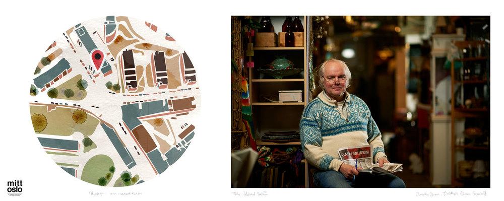 Brukthall Sinsen. Foto: Håvard Schei. Illustrasjon: Torun Mørkeseth Karlsen.