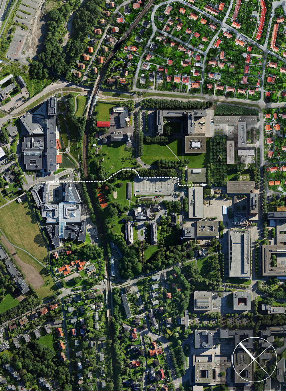 The route and in-between space Gaustadbekkdalen and Blindern campus. Upper left corner is the Life Science Center plot. Photo credit: Tin Phan