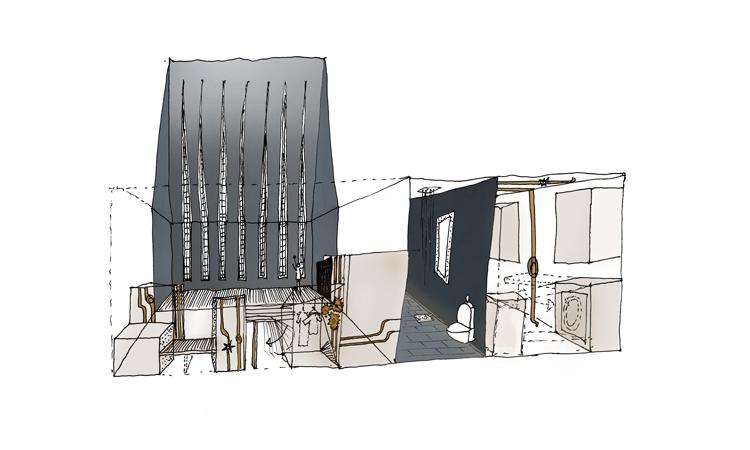 Architectopia AS. Interiørkonsept hvor rom med industripreg står i kontrast til mer luksuriøse elementer illustrasjonArchitectopia AS