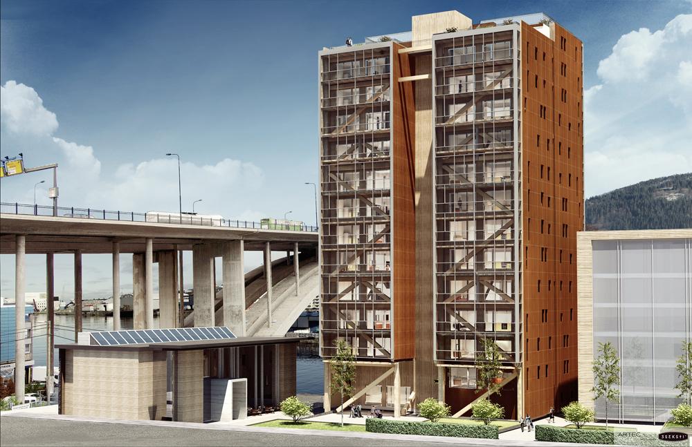 Bergenog Omegn Boligbyggelag (BOB) skal byggeverdens høyestemodernetrehusiBergenpå 14 etasjer Kilde: BOB