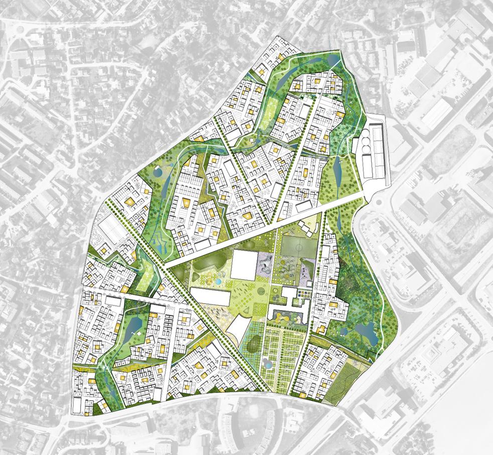 Flyfoto over Brøset illustrasjon: CODE aritekter