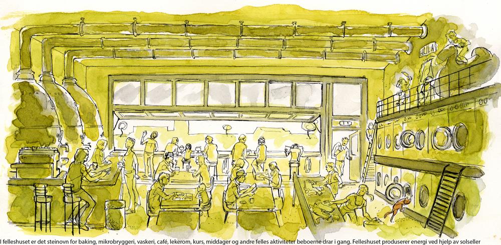 Fellesrom illustrasjon: CODE arkitekter