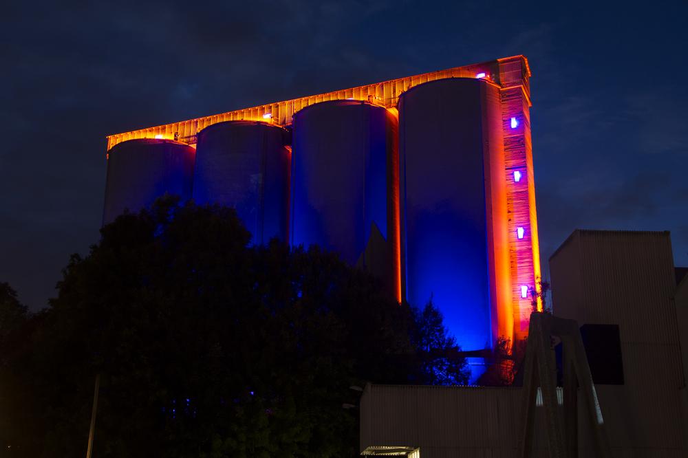 Factory light festival på Slemmestad august 2013. Lysdesign ZENISK. Foto: ZENISK