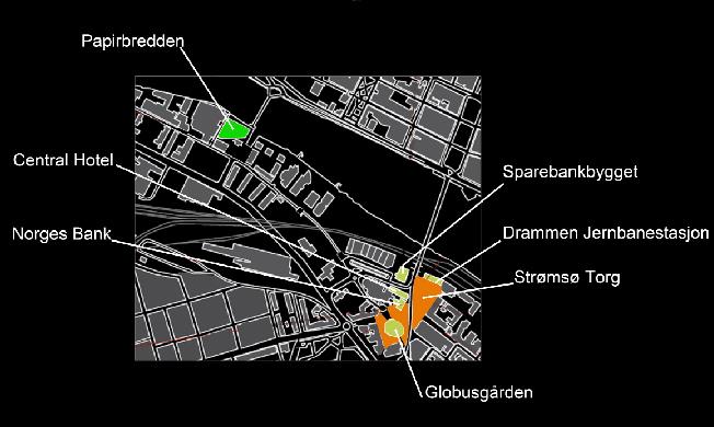 Oversikt over Strømsø bydel i Drammen. Illustrasjon:Kari Hornmoen