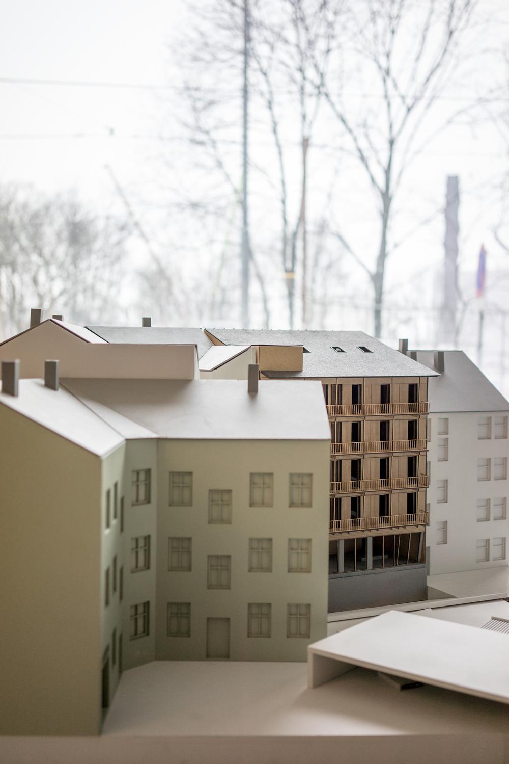 Foto: Christian Lycke   Modell av prosjektet i Hauskvartalet