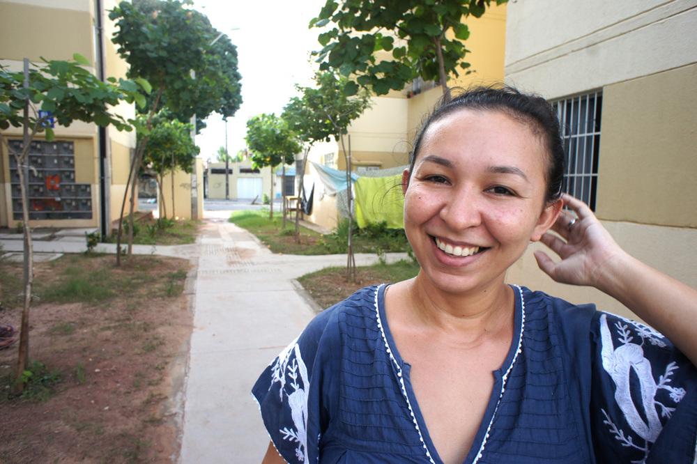 Sheila Rodriguez jobber i De Jordløses Bevegelse og var med på okkupasjonen og den politiske prosessen fram til de fikk innvilget boliger. Foto: Astrid Fadnes