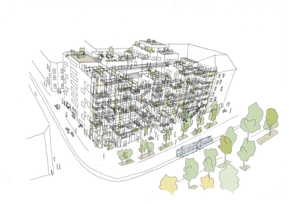 Skisse av prosjekt. Illustrasjon: Kornelie Solenes og Mari Ertsås Øverli