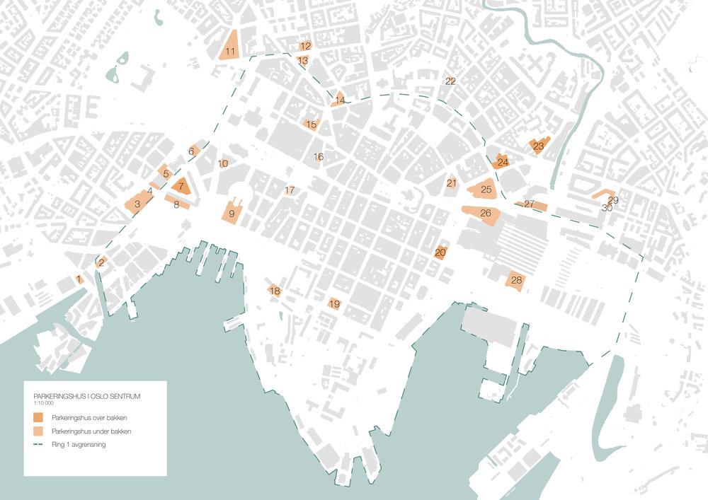 Oversikt over registrerte parkeringshus i Oslo sentrum. Illustrasjon: Kornelie Solenes og Mari Ertsås Øverli