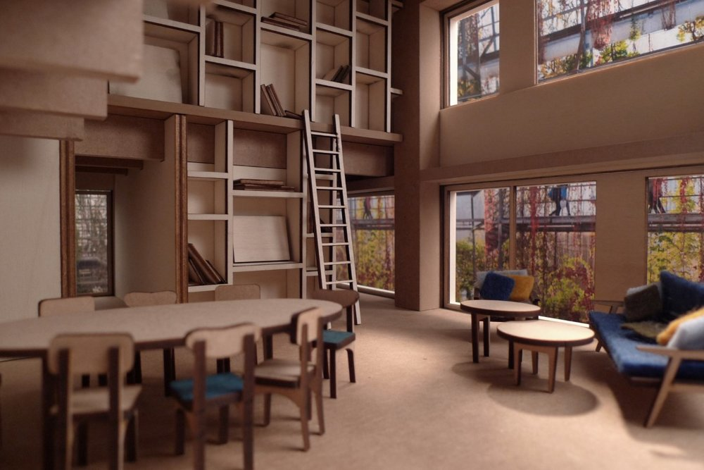 Modell av leilighet 1:20. Modell/foto: Kornelie Solenes og Mari Ertsås Øverli