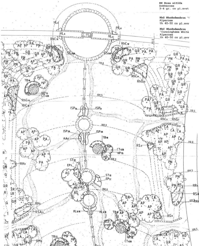 Et utsnitt fra planteplanen for Alfaset minnelund, tegna av Bjørbekk & Lindheim. Den ble ferdigbygget i 1996.