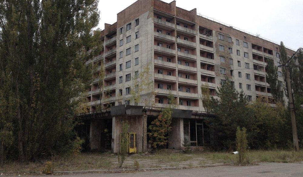 Boligblokker i Tsjernobylsonens største by, Pripjat.
