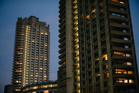Two of the high towers in the Barbican housing estate.