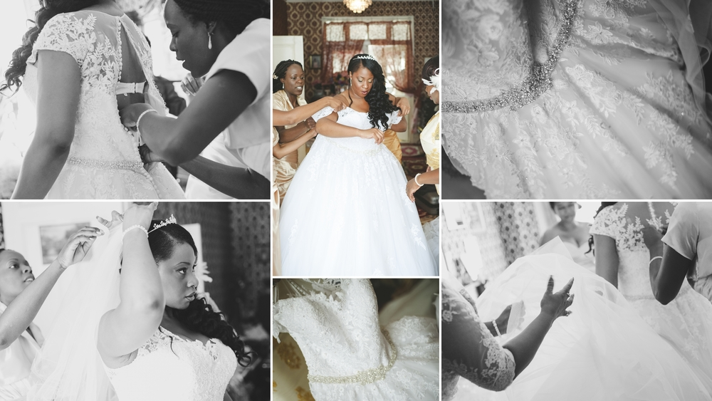 I love this, getting her wedding gown on the the front room of her family home. Beautiful light, Beautiful dress, and a truly Beautiful Bride.