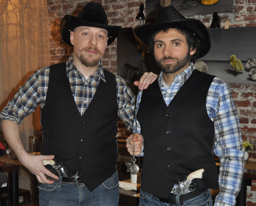 Me and my friend Fady Kerko playing cowboys who wind up on the wrong end of a gun.