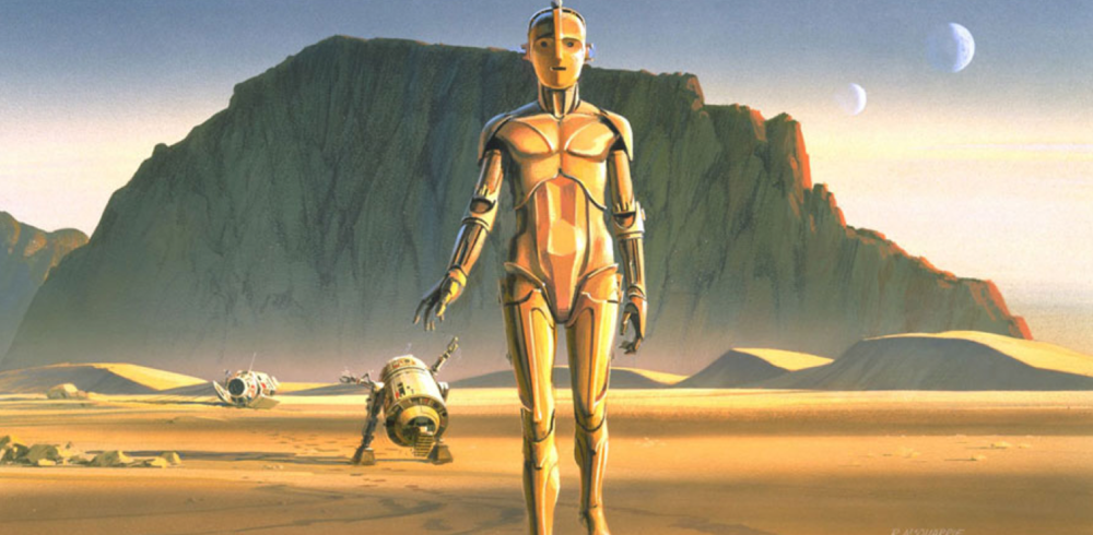 Original concept art for C3-PO and R2-D2   by Ralph McQuarrie based on Lucas' original screenplay.