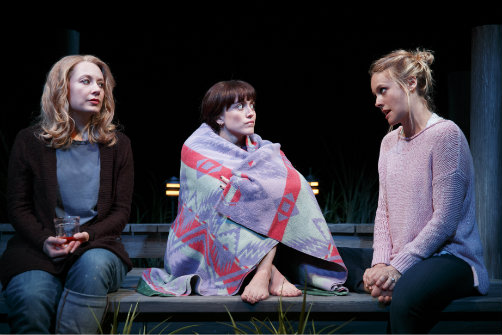 Jennifer Mudge, Heather Lind and Alicia Silverstone in   Of Good Stock  . Photo by Joan Marcus.