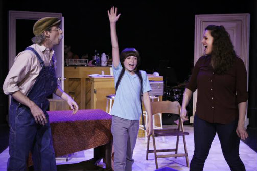 Josh Grisetti, Nicky Torchia, and Kristy Cates in   The Crack in the Ceiling  . Photo by Andrew Barry Fritz.
