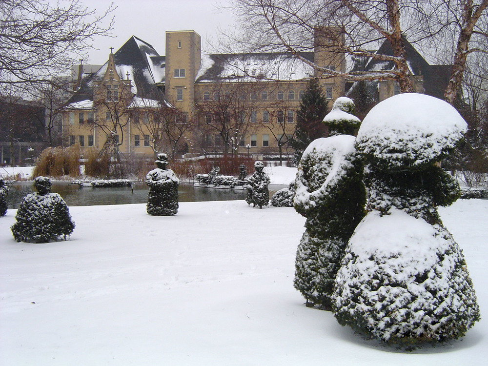 Winter at the Columbus Topiary Park / photo courtesy of the Friends of the Topiary Park