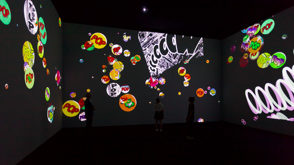 Installation view, Surround Sounds, 2014-15, four silent synchronized projected animations, each 13:40, looped / image courtesy of Paula Cooper Gallery