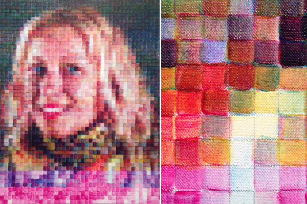 "Right: painting  from the current Chuck Slose Show,  Chuck Close: Red Yellow Blue.  Left: closeup of painting's ""pixels"""
