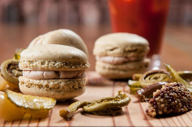 Sicilian pistachio macaron complete with mortadella mousse / photo credit: James Camp via Creative Loafing