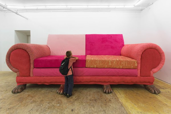 the big pink couch awaits at the Eli Ping Frances Perkins Gallery