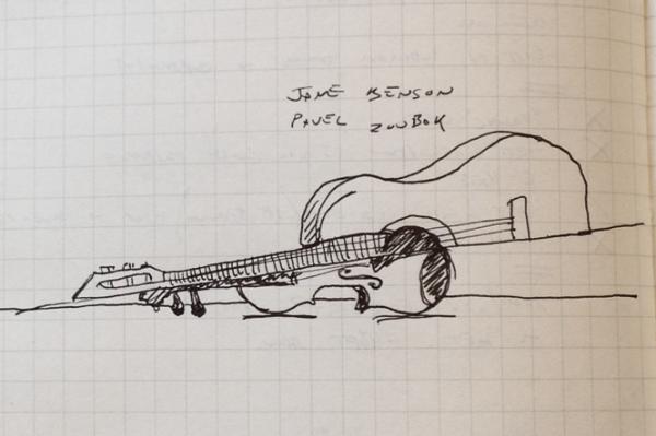 "David Behringer's own sketch of one of Jane Benson's ""split instruments"""