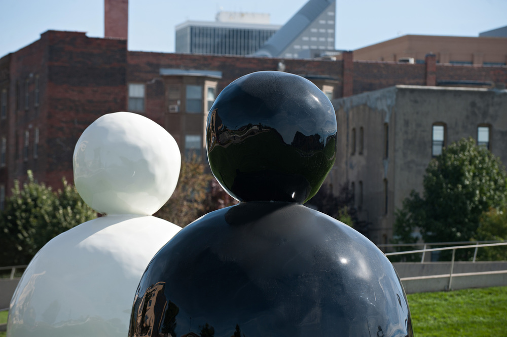 Back of a Snowman (White) and Back of a Snowman (Black) by Gary Hume / photo by Mindy Myers