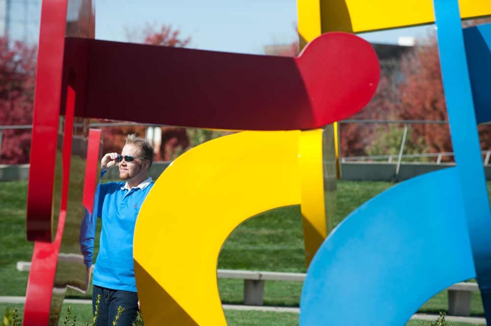 Michael Mackie explores the Pappajohn Sculpture Art Park / Photo by Mindy Myers