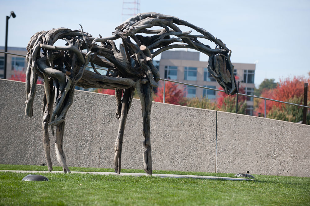One of the two bronze cast horse sculptures by Deborah Butterfield at the sculpture park / photo by Mindy Myers