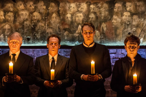 Tim Pigott-Smith, Anthony Calf, Oliver Chris, and Richard Goulding in   King Charles III  . Photo by Johan Persson.