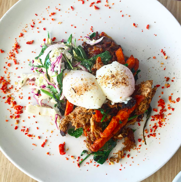 Bucket list brunch of pulled pork and sweet potato hash / photo by Tim Welsh