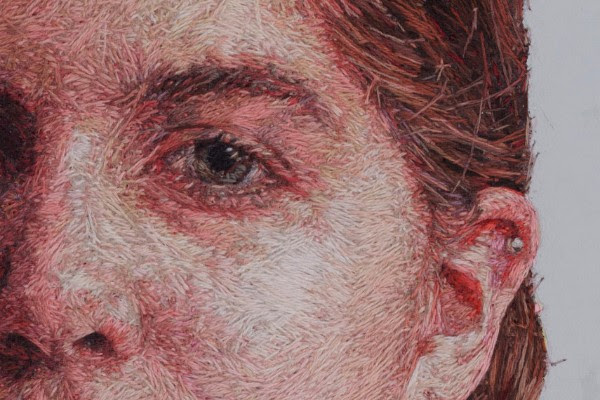 One of Cayce Zavaglia photorealistic portraits made of thread.
