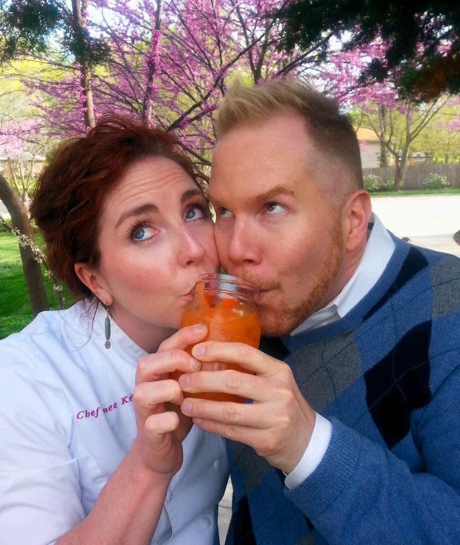 Chef Renée Kelly, Michael Mackie  + Harvest Farmarita (a margarita made with fresh carrot juice and tequila).