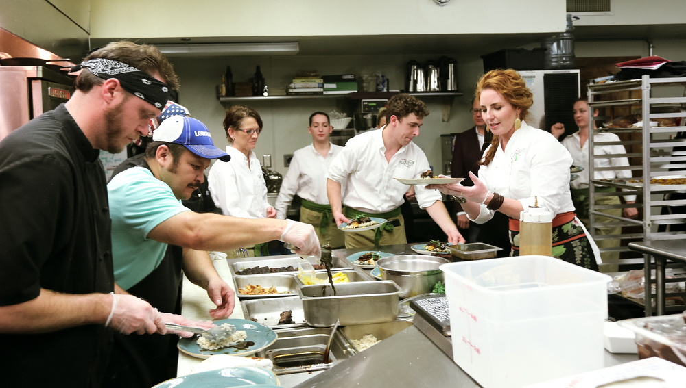 Chef Renee Kelley and her team in the Harvest kitchen /  photo by Jodi Vander Woude