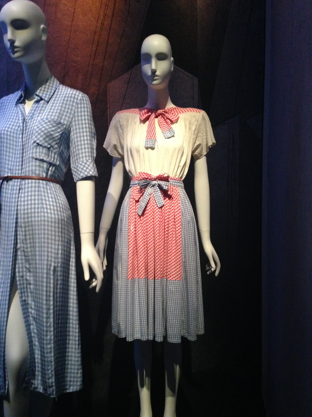 Gingham dresses by Gilbert Adrian for 1942 film 'Wizard of Oz'. The dress on the right of course for Dorothy.