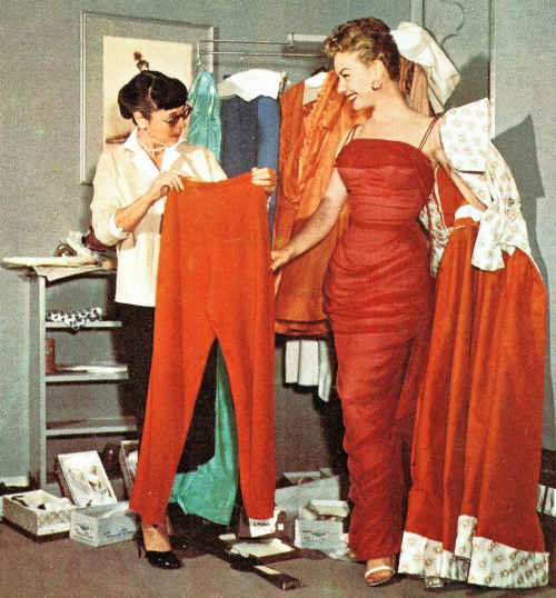 Edith Head at work -- alongside actress Mitzi Gaynor.