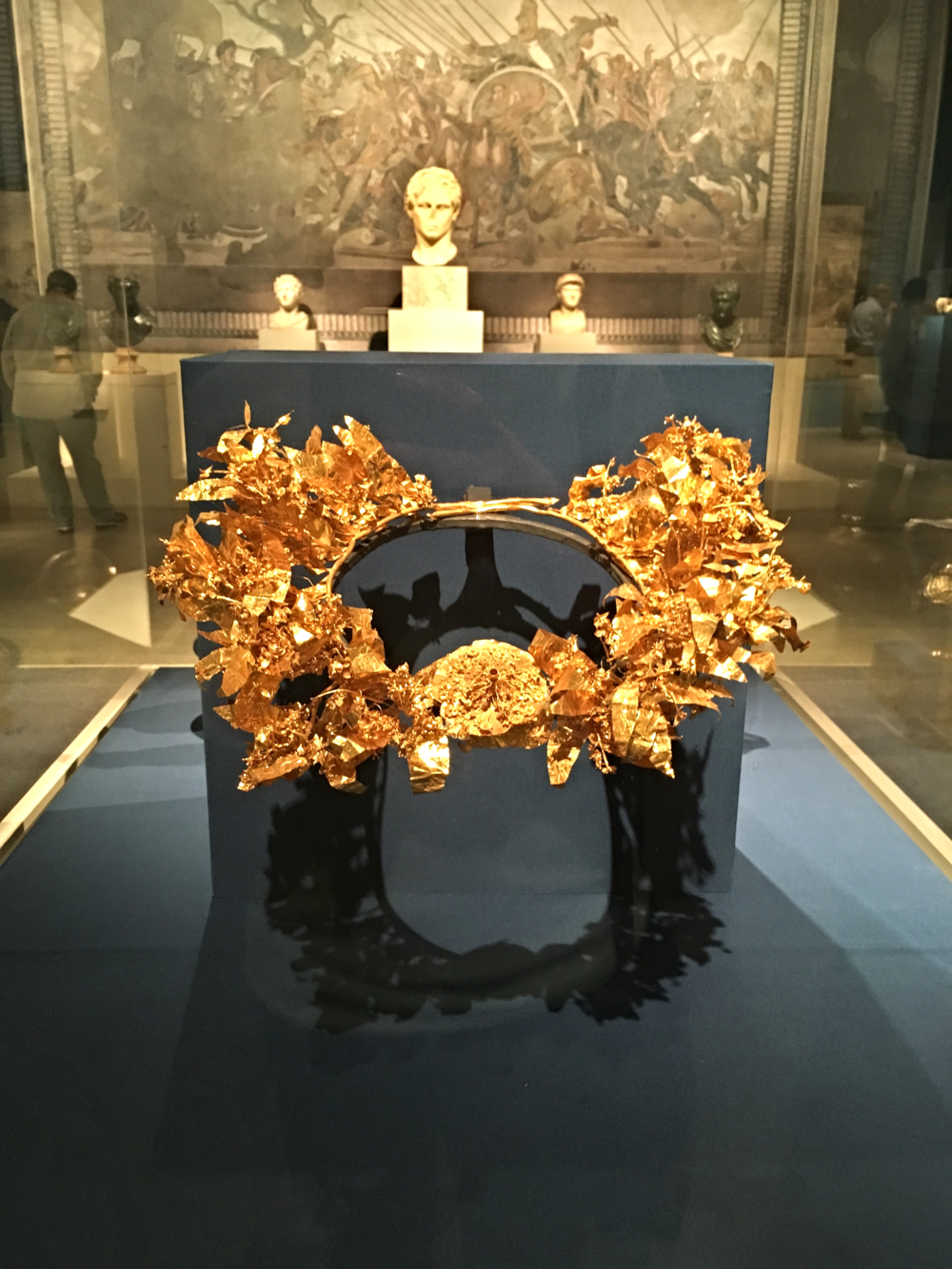 Gold and enamel myrtle wreath. Late Classical period c. 350-325 B.C. Wreaths like these were often placed in tombs to accompany the wealthy owner to the afterlife beyond. Suspect this fellow had no dramas getting through.