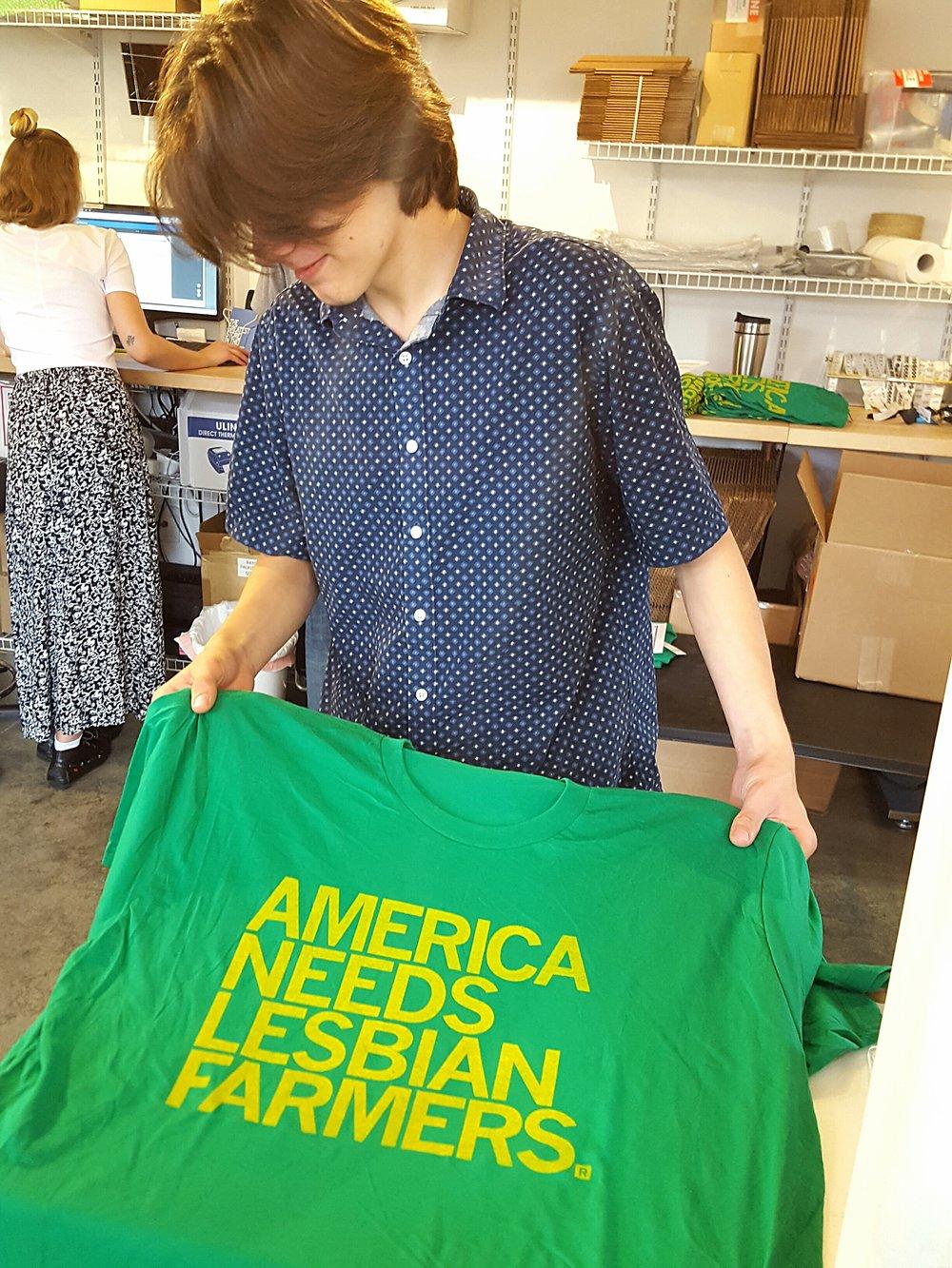 "RAYGUN's ""America Needs Lesbian Farmers"" t-shirt"