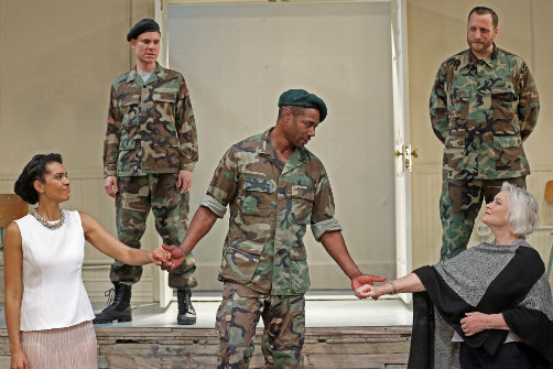 Rebecca S'manga Frank, Aaron Krohn, Dion Johnstone, Zachary Fine, and Lisa Harrow in Coriolanus. Photo by Carol Rosegg.