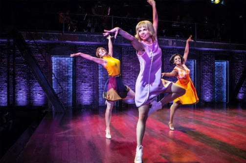 Emily Padgett, Sutton Foster, and Asmeret Ghebremichael in  Sweet Charity . Photo by Monique Carboni.