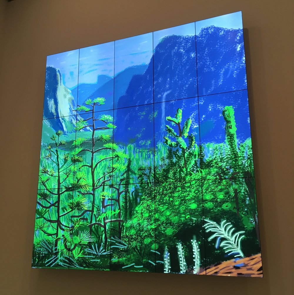 A still from one of David Hockney's painitings recorded live as he drew it on an iPad.