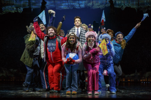 Andy Karl and the company of  Groundhog Day . Photo by Joan Marcus.