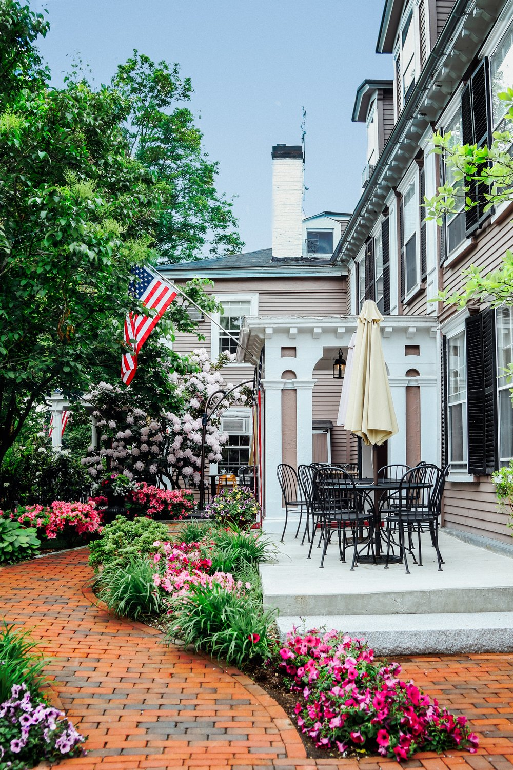 Side porch view of Concord's Colonial Inn, Concord MA.